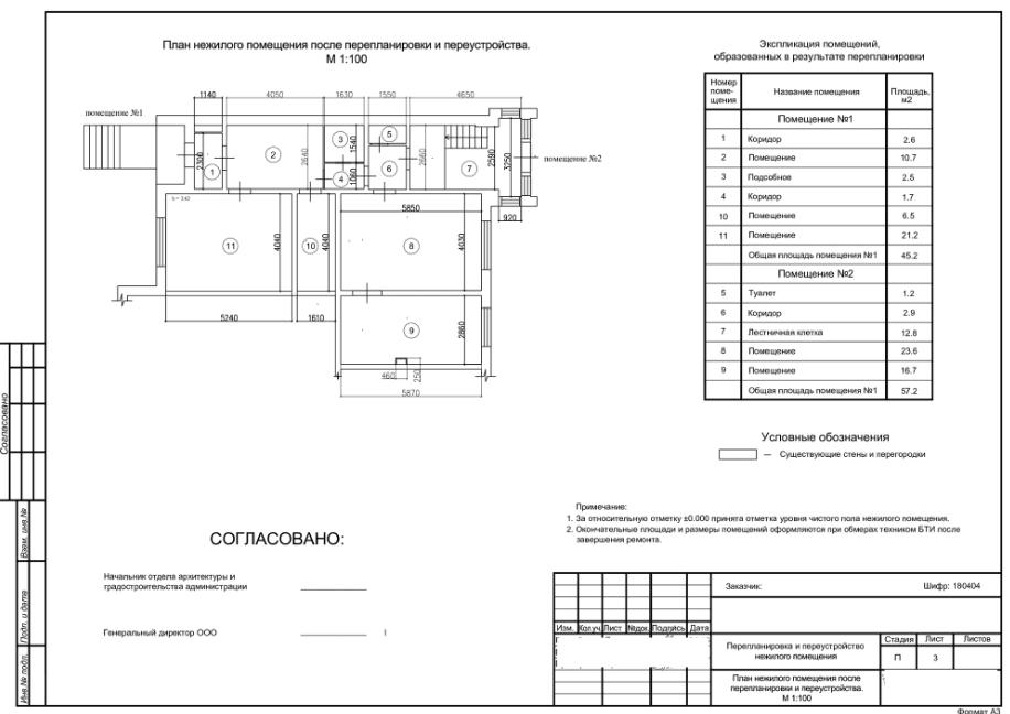 План нежилого помещения после перепланировки и переустройства